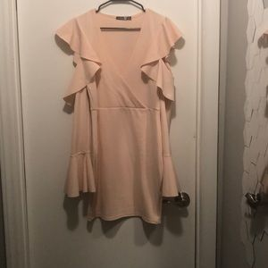 Cold Shoulder Pink Frill Sleeve Midi Dress NWT